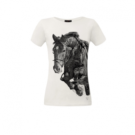 Koszulka damska biała Skaczący Koń
