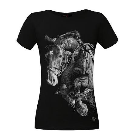 Koszulka damska czarna Skaczący Koń