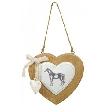 Ozdoba białe serce z koniem