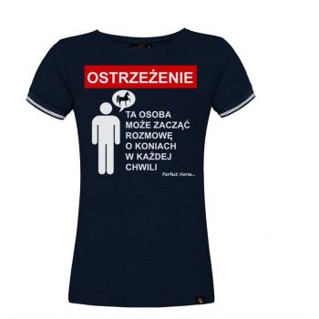 "Koszulka damska Cartoon ""Ostrzeżenie""granatowa"