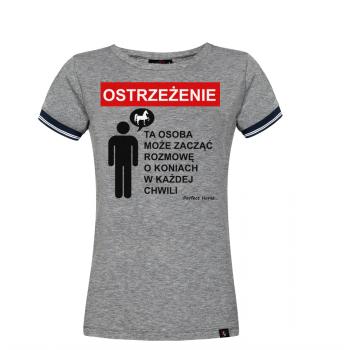 "Koszulka damska Cartoon ""Ostrzeżenie"" szara"