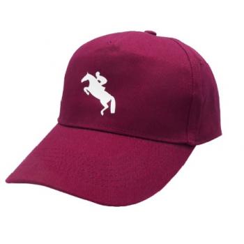 Czapka z daszkiem z nadrukiem konia, bordowa, wzór skoczek