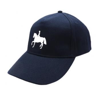 Czapka z daszkiem z nadrukiem konia, granatowa, wzór dresaż