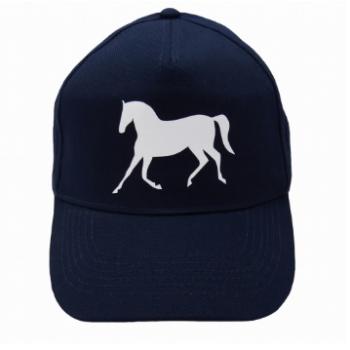 Czapka z daszkiem z nadrukiem konia, granatowa, wzór koń w kłusie
